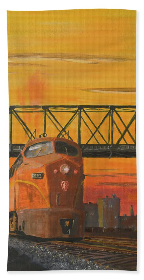 Train Bath Towel featuring the painting Dawn Patrol by Christopher Jenkins