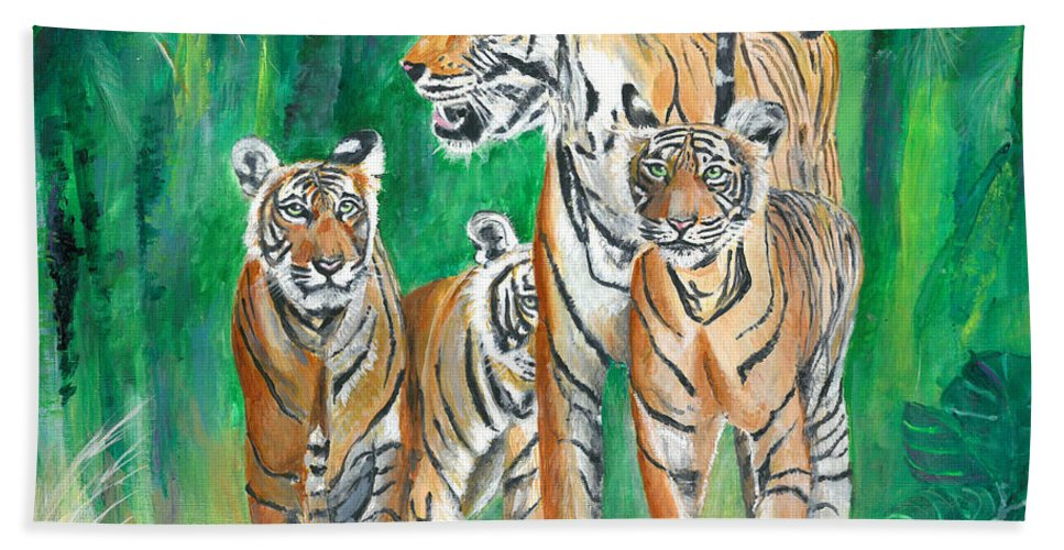 Wild-life Bath Sheet featuring the painting Dawn Patrol- Painting by Veronica Rickard