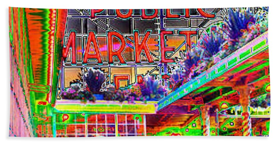 Seattle Hand Towel featuring the photograph Day At The Market by Tim Allen