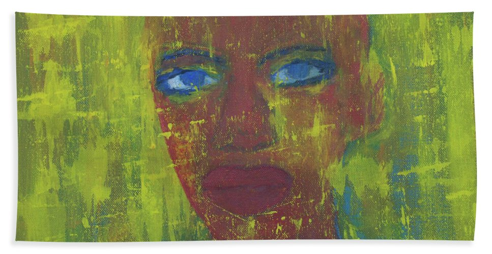 Portrait Abstract Hand Towel featuring the painting Day by Crina Iancau