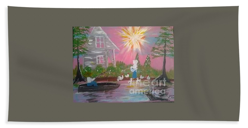 Day In Acadiana Hand Towel featuring the painting Day In Acadiana by Seaux-N-Seau Soileau