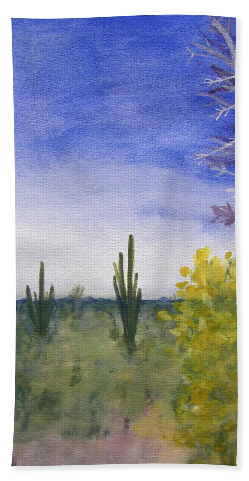 Arid Bath Sheet featuring the painting Day In Arizona Desert by Lee Serenethos