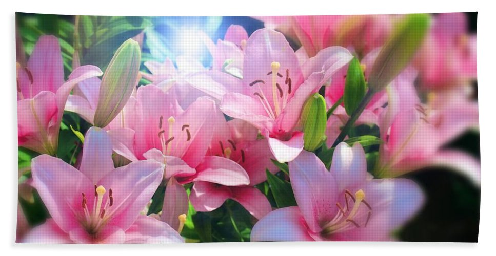 Day Lily Bath Sheet featuring the digital art Day Light Lilies by Mindy Newman
