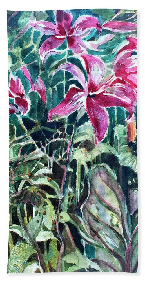 Day Lily Bath Towel featuring the painting Day Lilies Day Light by Mindy Newman