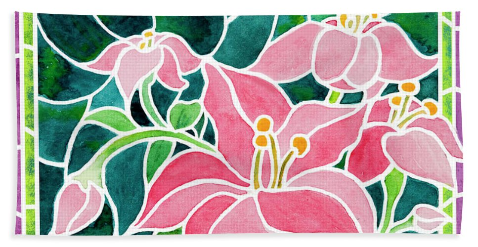 Pink Day Lilies Hand Towel featuring the painting Day Lilies In Stained Glass by Janis Grau