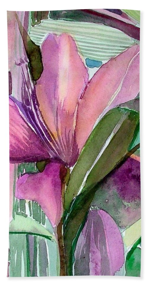 Flower Hand Towel featuring the painting Day Lily Pink by Mindy Newman