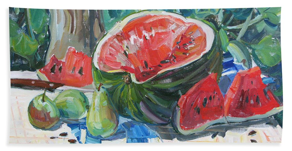 Summer Still-life Hand Towel featuring the painting Day Of A Water-melon by Juliya Zhukova