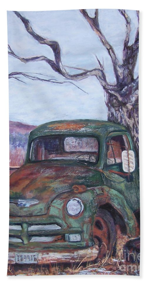 Vintage Truck Bath Towel featuring the pastel Day Of Rest - Old Friend Iv by Alicia Drakiotes
