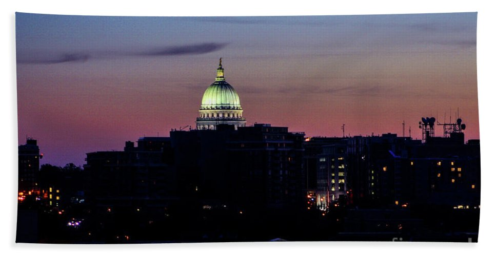 Daybreak Hand Towel featuring the photograph Daybreak In Madison Wi by Tommy Anderson