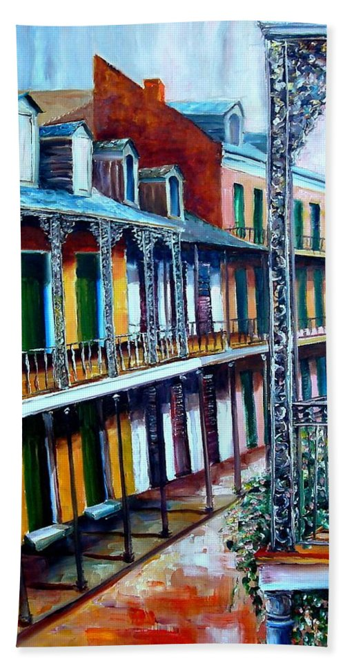 New Orleans Bath Sheet featuring the painting Daybreak On St. Ann Street by Diane Millsap