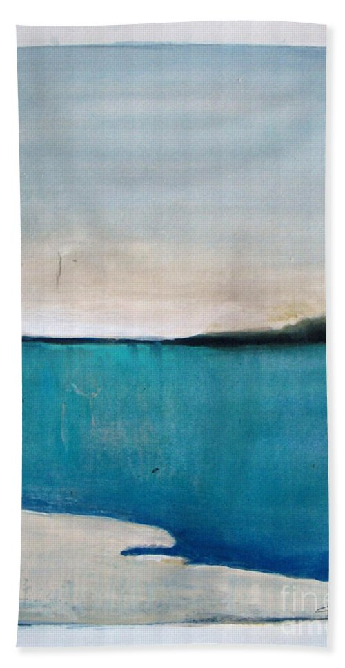 Abstract Hand Towel featuring the painting Daybreak On The Beach by Vesna Antic