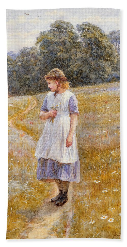 Daydreaming; Daydream; Female; Young; Girl; Full Length; Landscape; Rural; Country; Countryside; Field; Cottage; House; Path; Blue; Dress; Flowers; Daisies; Meadow; Sunny; Bouquet; Bunch; Posy; Picking; Walking; Sun; Hat; Youth; Idleness; Leisure Bath Sheet featuring the painting Daydreamer by Helen Allingham