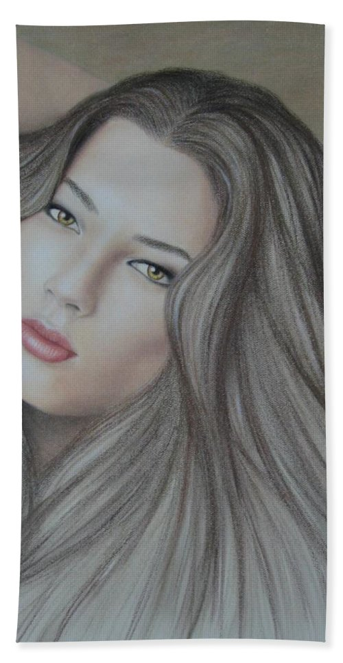 Woman Hand Towel featuring the painting Daydreaming by Lynet McDonald