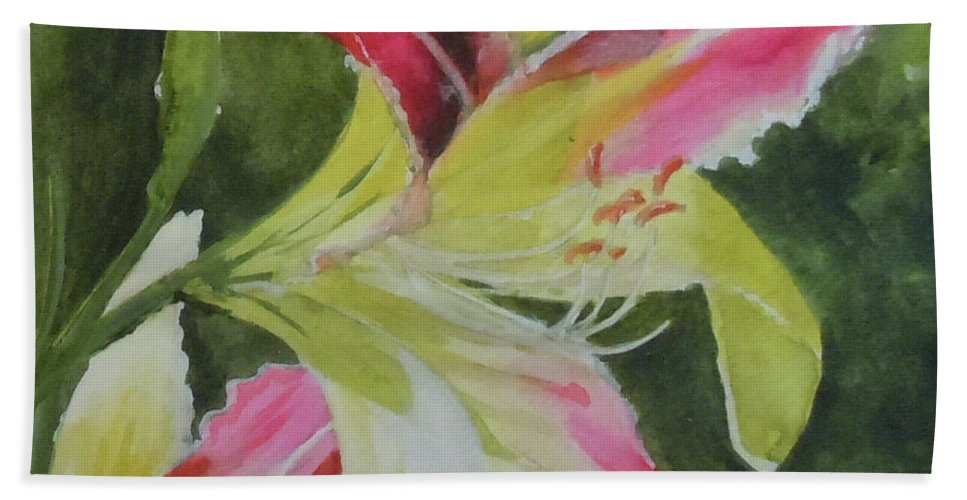 Daylily Bath Towel featuring the painting Daylily Study 1 by Jean Blackmer