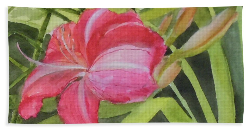 Daylily Hand Towel featuring the painting Daylily Study II by Jean Blackmer