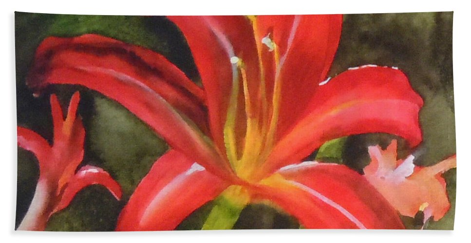 Red Bath Sheet featuring the painting Daylily Study Iv by Jean Blackmer