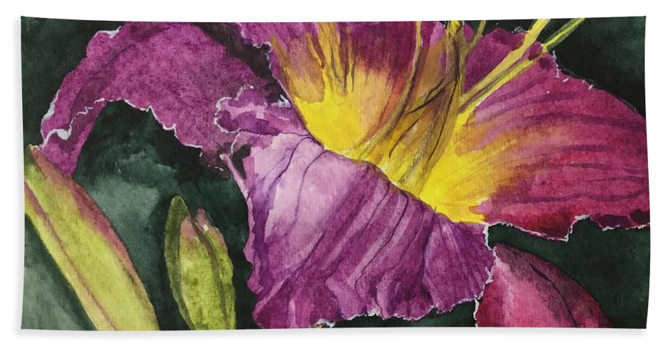 Daylily Hand Towel featuring the painting Daylily Study VI by Jean Blackmer
