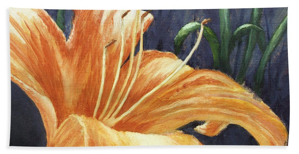 Flower Hand Towel featuring the painting Daylily by Todd Blanchard