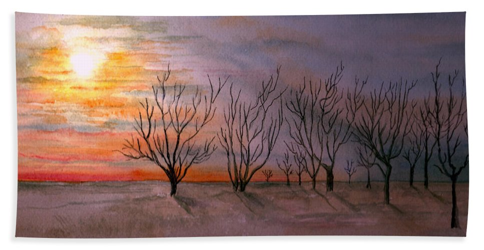 Watercolor Landscape Sundown Sunset Sky Trees Scenic Scenery Nature Clouds Hand Towel featuring the painting Day's End by Brenda Owen