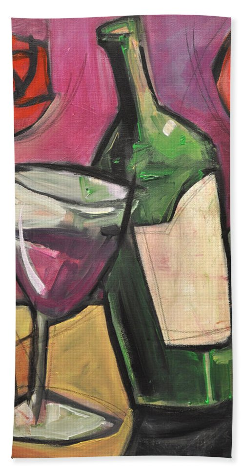 Wine Hand Towel featuring the painting Days Of Wine And Roses by Tim Nyberg