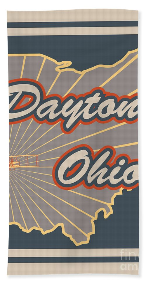 Dayton Ohio Travel Poster Bath Sheet featuring the digital art Dayton Ohio by Nathan Poland