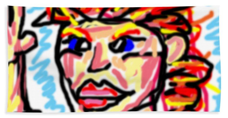Doodle Bath Sheet featuring the digital art ddd by Blind Ape Art