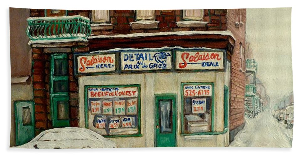 De Bullion Street In Winter Montreal Bath Sheet featuring the painting De Bullion Street In Winter Montreal by Carole Spandau