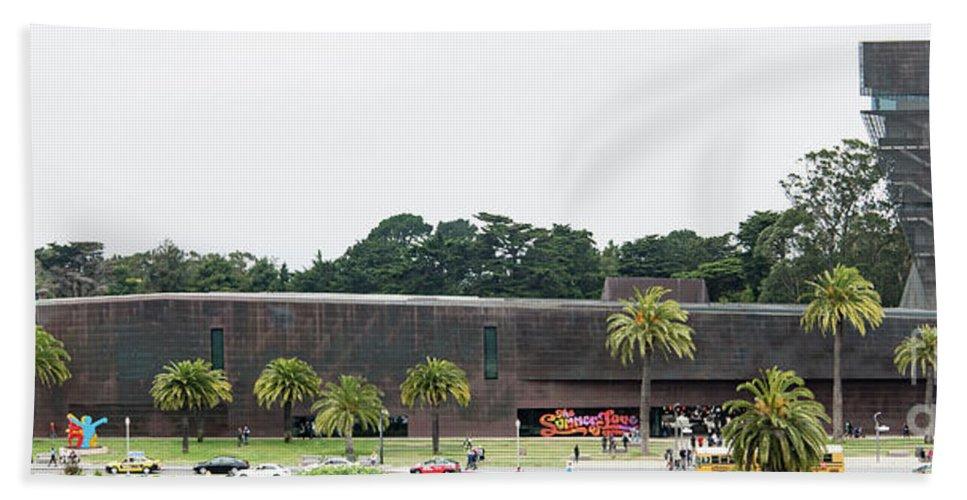 De Young Museum Bath Sheet featuring the photograph De Young Museum In San Francisco, California by David Oppenheimer