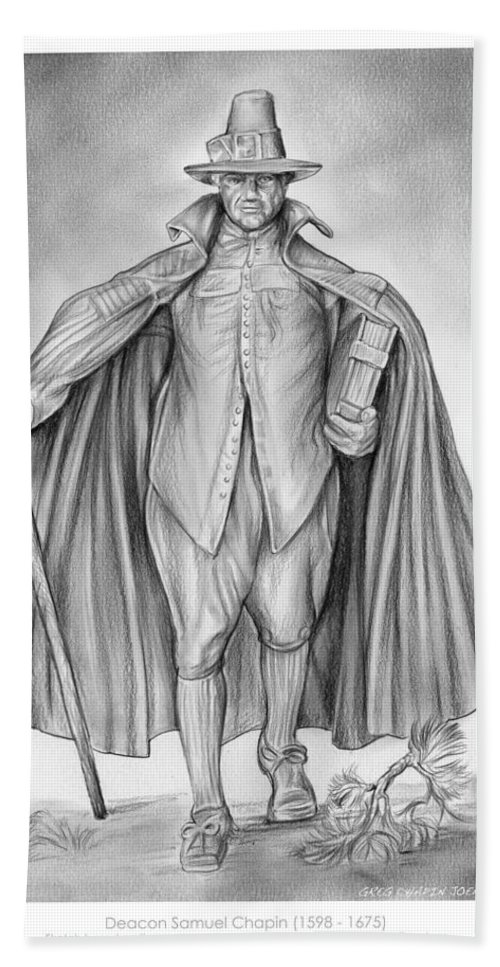Deacon Samuel Chapin Bath Towel featuring the drawing Deacon Samuel Chapin by Greg Joens