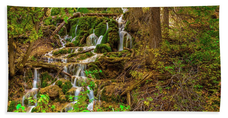 Waterfall Water Fine Art Landscape Nature Vivid Color Amazing Rich Silky Smooth Rock Creek Tree Trees Murray Pellowe Dead Horse Hanging Lake Hand Towel featuring the photograph Dead Horse Creek by Murray Pellowe