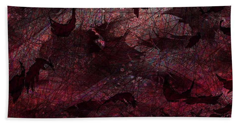 Abstract Bath Sheet featuring the digital art Dead Leaves by Rachel Christine Nowicki