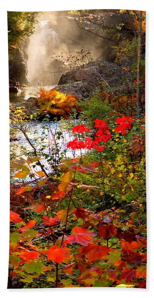 Dead River Falls Hand Towel featuring the photograph Dead River Falls foreground plus mist 2509 by Michael Bessler