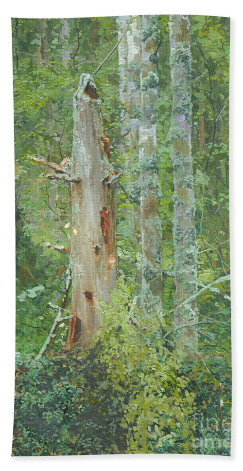 Old Tree Bath Towel featuring the painting Dead Tree by Simon Kozhin