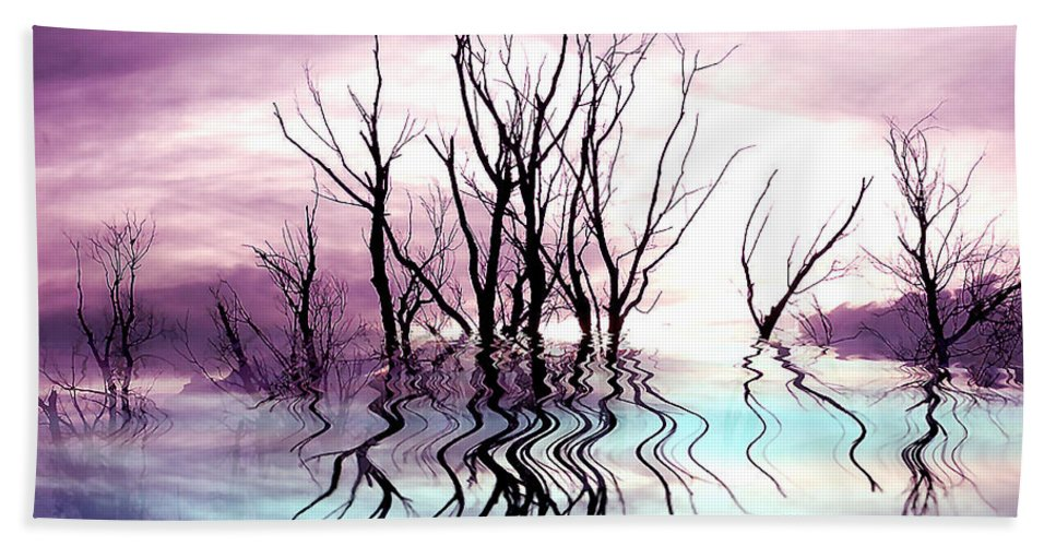 Photo Artwork Bath Sheet featuring the photograph Dead Trees Colored Version by Susan Kinney