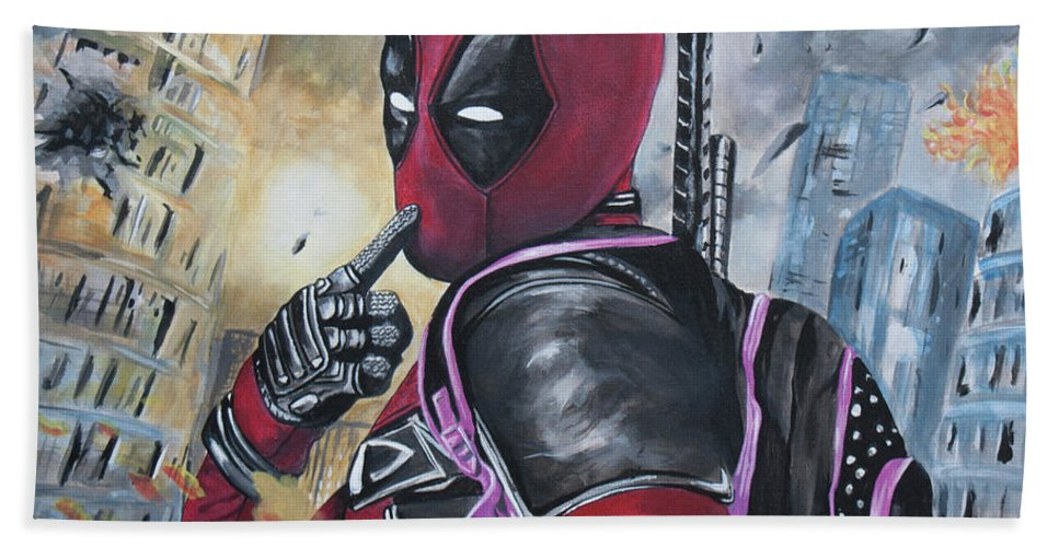 Deadpool Bath Sheet featuring the painting Deadpool by Jamie Bishop