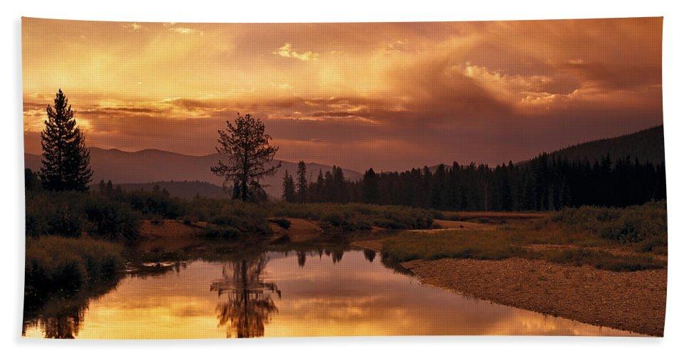 Idaho Hand Towel featuring the photograph Deadwood River Sunrise by Leland D Howard