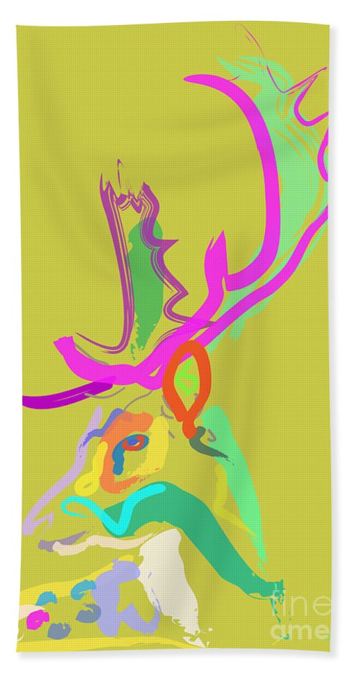 Deer Bath Sheet featuring the painting Dear Deer by Go Van Kampen
