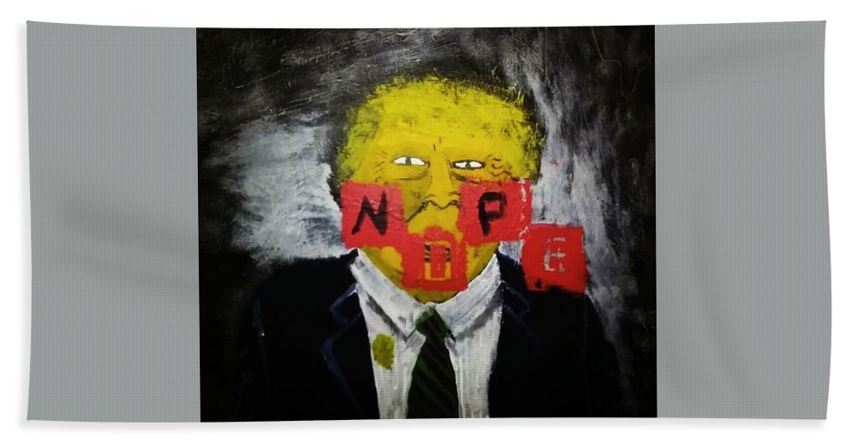 Donald Trump Hand Towel featuring the mixed media Dear Sir by Kat Leon