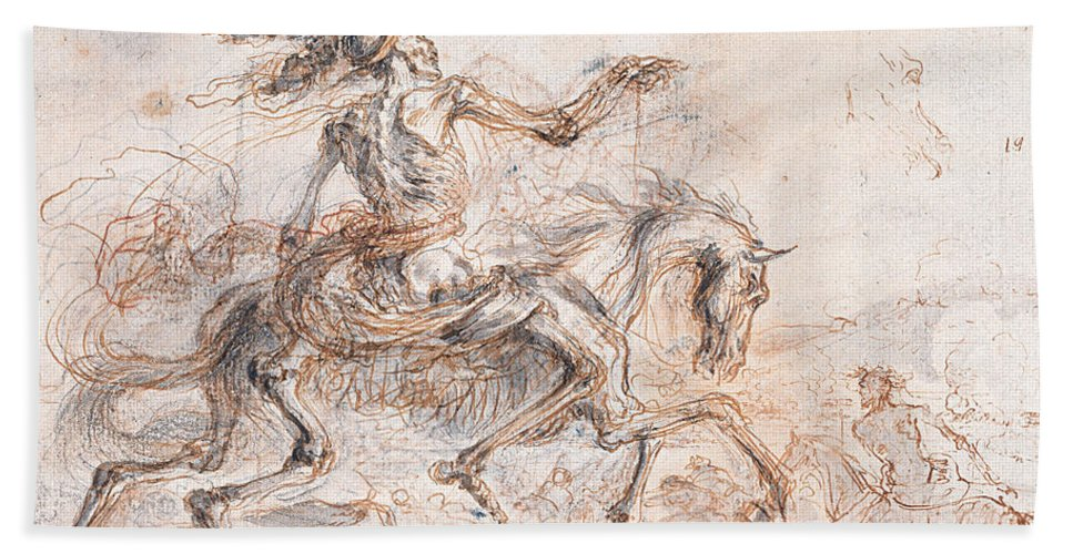 Stefano Della Bella Hand Towel featuring the drawing Death On The Battlefield by Stefano della Bella