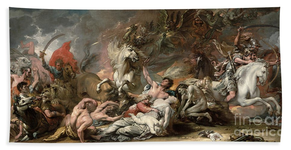 Death Hand Towel featuring the painting Death On The Pale Horse by Benjamin West