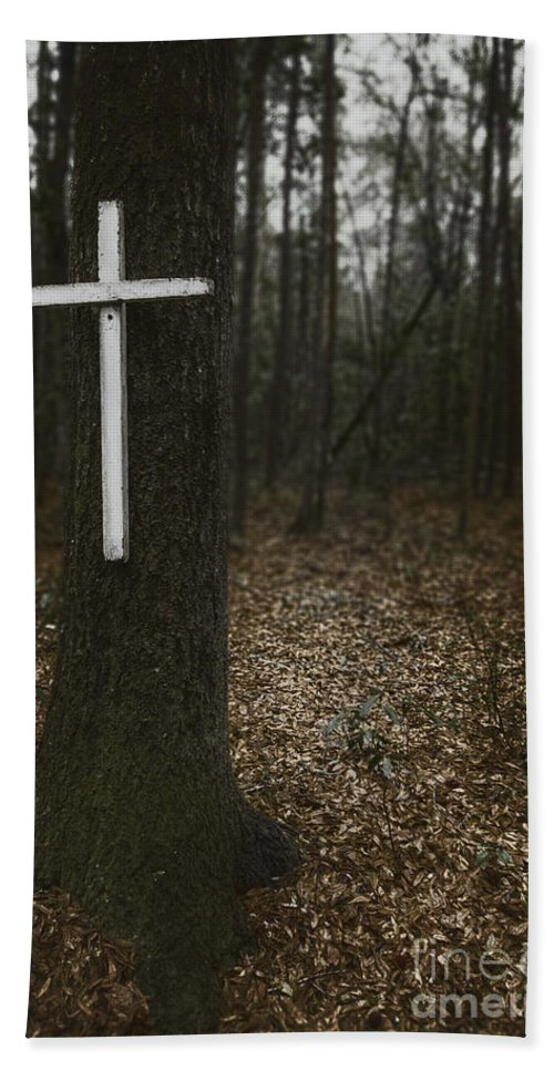 Cross Hand Towel featuring the photograph Death Was Here by Margie Hurwich