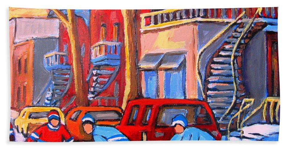 Debullion Street Hockey Stars Hand Towel featuring the painting Debullion Street Hockey Stars by Carole Spandau