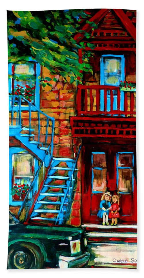 Montreal Streetscenes Bath Towel featuring the painting Debullion Street Neighbors by Carole Spandau