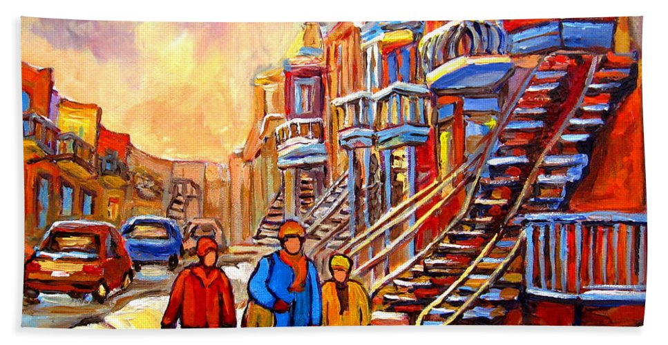 Debullion Street Winter Walk Bath Towel featuring the painting Debullion Street Winter Walk by Carole Spandau