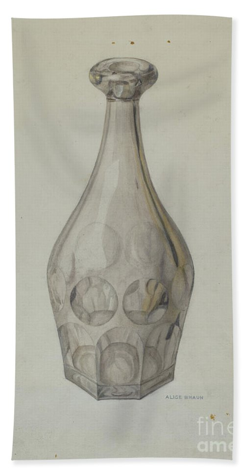 Hand Towel featuring the drawing Decanter (ashberton Pattern) by Alice Braun