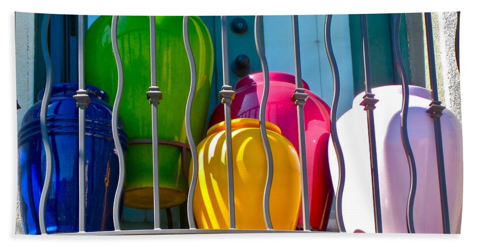Photograph Of Colorful Pots Bath Sheet featuring the photograph Deck Party by Gwyn Newcombe
