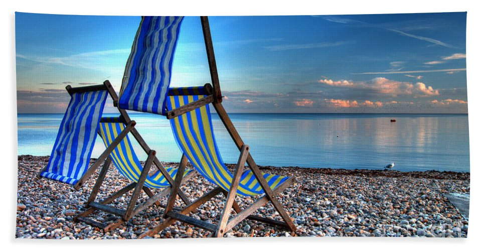 Deckchairs Hand Towel featuring the photograph Deckchairs On The Shingle by Rob Hawkins