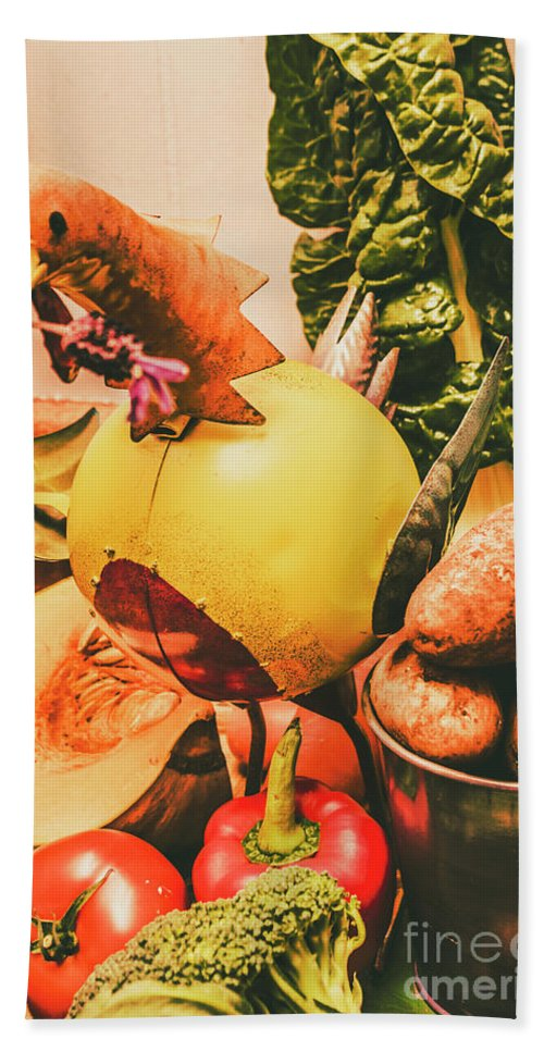 Still-life Bath Towel featuring the photograph Decorated Organic Vegetables by Jorgo Photography - Wall Art Gallery