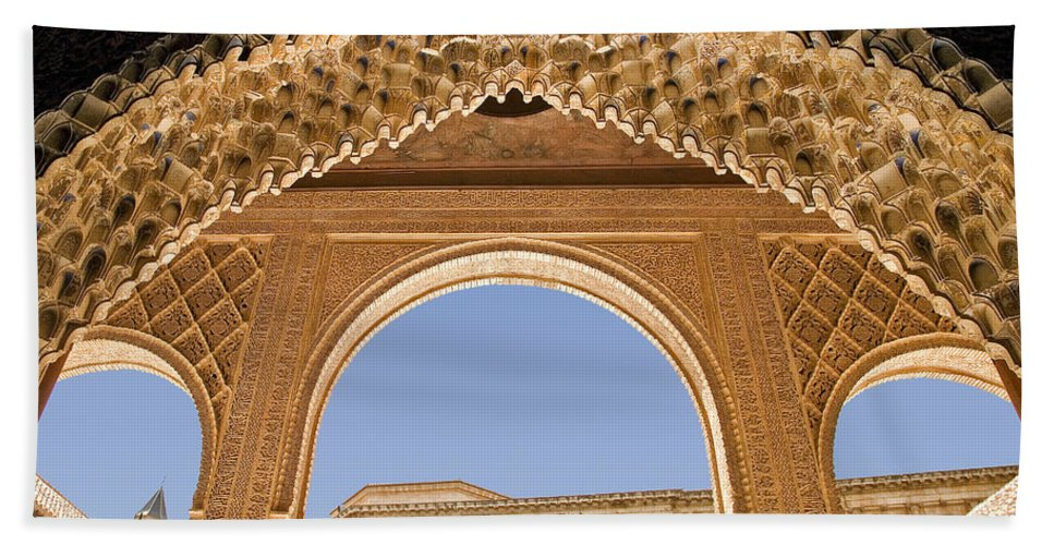 Architecture Bath Towel featuring the photograph Decorative Moorish Architecture In The Nasrid Palaces At The Alhambra Granada Spain by Mal Bray