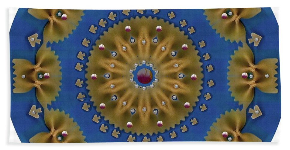 Pasta Bath Sheet featuring the mixed media Decorative Pasta Collage by Pepita Selles